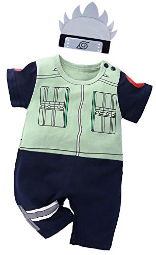 Bebkuebe Naruto Outfit Baby Costume, Cute Infant Toddler Onesie Cool Newborn Cosplay Romper Cartoon Pajamas Clothes (Green, 3-6 Months)