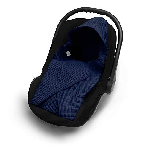 EliMeli Einschlagdecke für Babyschale 100% Baumwolle Baby Decke für Autositz aus Waffelstoff für den Sommer und Frühling, universal z.B. Maxi Cosi Ideal als Kuscheldecke Kinderwagedecke (Marineblau)