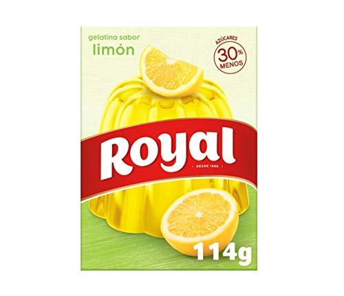 Royal Gelatina en Polvo Sabor Limón con Vitamina C, 30% Menos Azúcares - 10 Raciones, 114 g