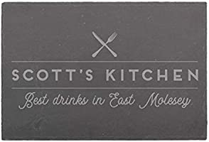 Personalised Dad's Kitchen Slate Board - Slate Serving Tray - Place Mat for Food - Slate Cheese Board - Personalised...