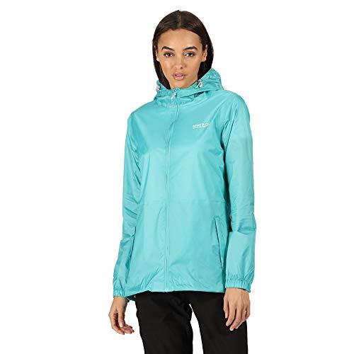 Regatta Veste Technique compactable Pack It III Légère, Imperméable et Respirante avec capuche Ajustable Jackets Waterproof Shell Femme Turquoise FR: S (Taille Fabricant: 12)