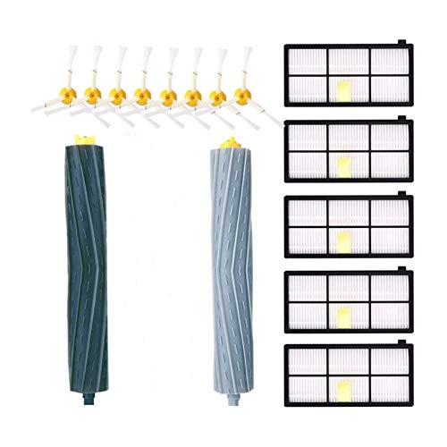 QIBIN Kit de accesorios para aspiradora IRobot Roomba serie 981 980 960 895 886 870 865 866 800 900 piezas de repuesto 8 cepillos laterales, 5 filtros, 2 Ro