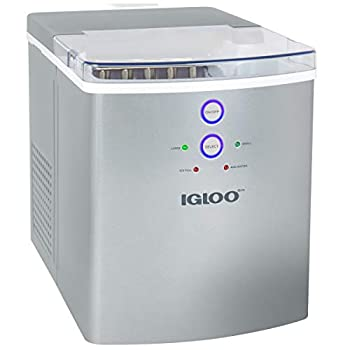 Igloo ICEB33SL Large-Capacity Automatic Portable Electric Countertop Ice Maker Machine 33 Pounds in 24 Hours 9 Ice Cubes Ready in 7 minutes With Ice Scoop and Basket Perfect for Water Bottles