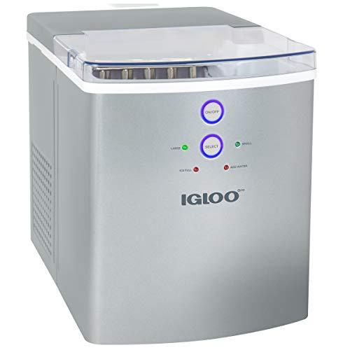 Igloo ICEB33SL Máquina automática portátil de gran capacidad para máquina de hielo eléctrica portátil, 33 libras en 24 horas, 9 cubos de hielo listos en 7 minutos, con cuchara de hielo y cesta, perfecto para botellas de agua
