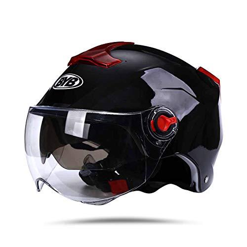 BOSEMAN Casco de Motocicleta con Visera, Adecuado para ciclomotores, Scooters, cruceros, Pase la Prueba de colisión para Cumplir con la Seguridad Vial(Negro)