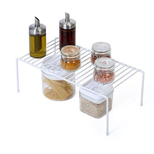 Smart Design Cabinet Storage Shelf Rack - Large (8.5 x 16 Inch) - Steel Metal Wire - Cupboard, Plate, Dish, Counter & Pantry Organizer Organization - Kitchen [White]