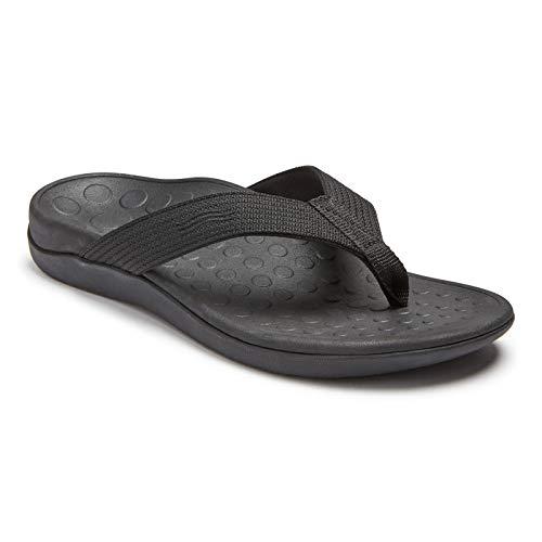 Vionic Unisex Wave Toe-Post Sandal - Flip-Flop with Concealed Orthotic Arch Support Black/Black Men's 8 Medium US/Women's 9 Medium US