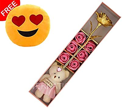 International Gift Golden Rose Flower With Teddy With Free Smiley Pillow