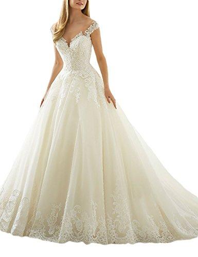 Vestido de novia con escote en V y apliques de encaje