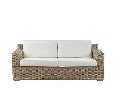 Ardea - Sofá de jardín clásico con cojines en color blanco crema de ratán de 2 plazas