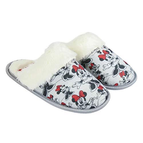 Artesania Cerda Zapatillas DE CASA Abierta Premium Minnie, Mujer, Gris (Gris C13), 41 EU