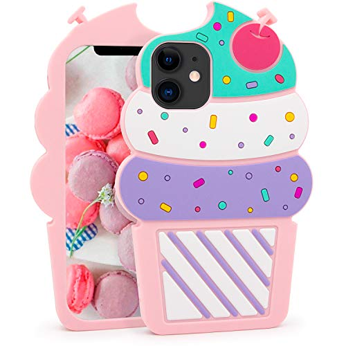 Megantree Cute iPhone 11 Case, Ice Cream Funny 3D Cartoon Cupcakes Shaped Soft Silicone Full Protection Shockproof Cases Cover for Girls Kids Women Children
