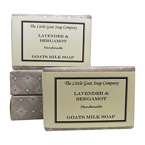 4 jabones de leche para cabra de bergamota Lavender & 100 g. Eczema, Psoriasis, Dermatitis. Rosácea - Piel sec