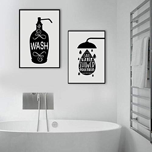 N/A Toiletpapier tandenborstel zeep tips muurfoto's voor badkamer decoratie canvas Nordic Painting Poster en druk op canvas zonder lijst 40 x 50 cm x 2