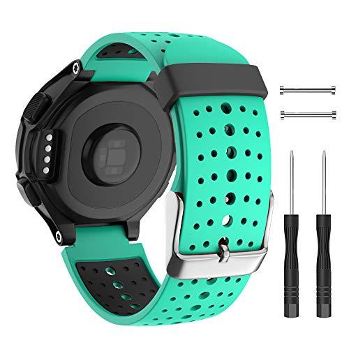 Isabake Cinturino per Orologio Garmin Forerunner 735XT, Cinturino in Silicone Morbido con Cinturino con Fibbia in Metallo Misura Regolabile Compatibile Forerunner 220/230/235/620/630(MentaVerde)