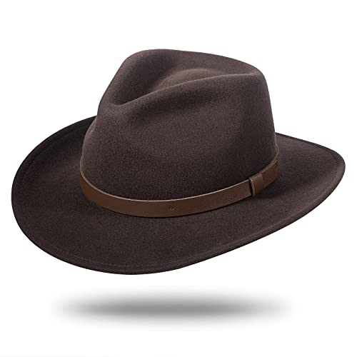 Cowboy Hats for Men Women 100% Wool Felt Western Outback Gambler Hat...