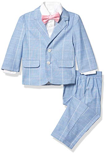 Nautica Baby Boys 4-Piece Suit Set with Dress Shirt, Jacket, Pants, and Bow Tie, Strong Blue, 12 Months