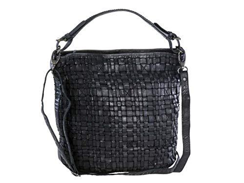 Bear Design Handtasche Damen Tasche Leder Schultertasche Flechtoptik Shopper schwarz für Damen Frauen