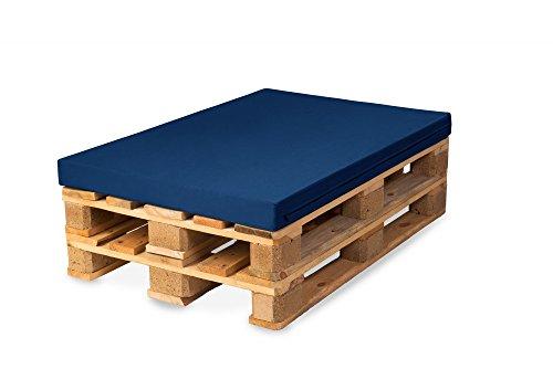 TexDeko Palettenkissen, Palettensofa, Palettenpolster, Matratzenkissen (120x80x8cm) Schaumstoff für Europalette, Hundekissen, Auflage (Blau)