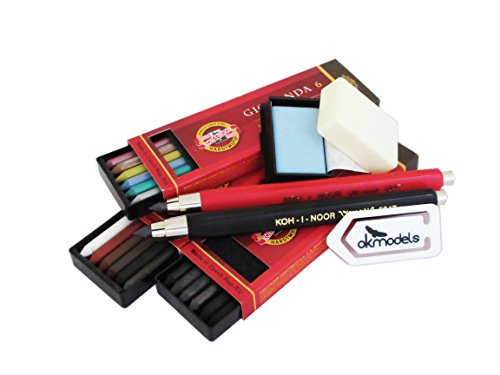 Koh-I-Noor set, 2 portamine 5347 da5,6mm di diametro + Gioconda 5,6mm, set di 6mine per disegnatori. 4869/4869/i + II + Koh-I-Noor mine colori metallizzati (set of 6) + gomma + graffetta.