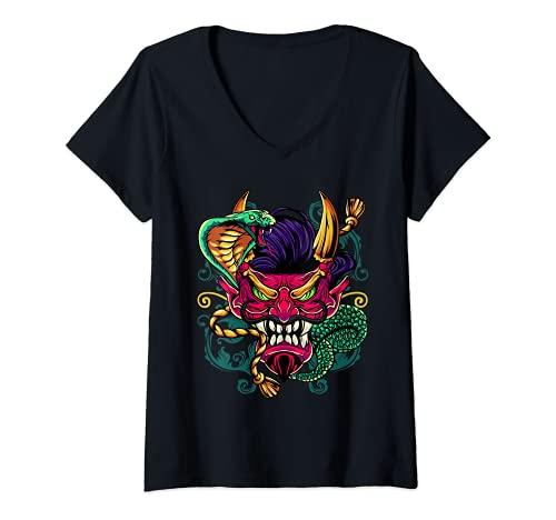 Mujer Máscara de serpiente demonio oni samurái japonesa Camiseta Cuello V