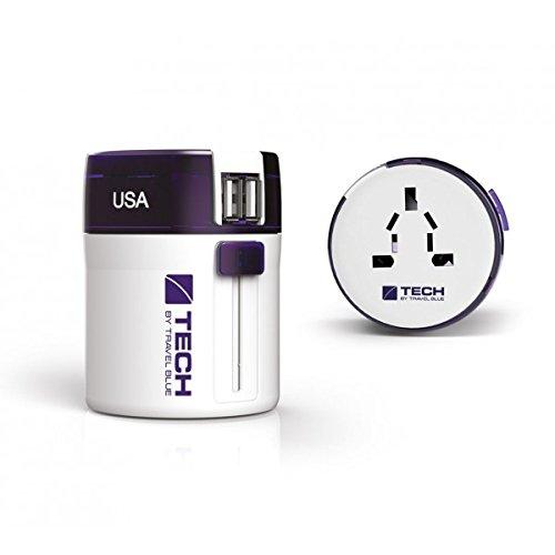 "Travel Blue Universal Reiseadapter ""TWIST & SLIDE"" Weltreise-Adapter 270 Lila + 2 USB-Ports Reisestecker weltweit Stromadapter Ladegerät World"