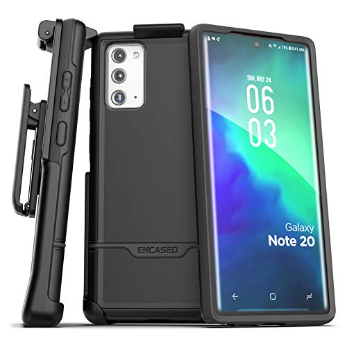 Encased Galaxy Note 20 Belt Clip Protective Holster Case (2020 Rebel Armor) Heavy Duty Rugged Full Body Cover with Holder for Samsung Note 20 (Black)