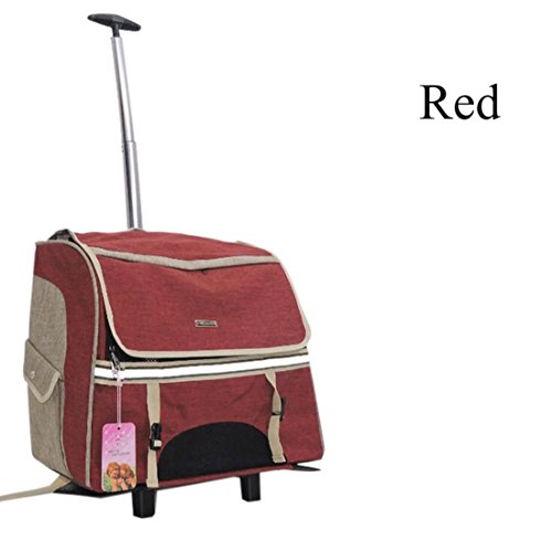 Transporttasche Trolley,Hunderucksack Hunde Trolley Transporttasche für Hund Removable Hundetrolley Rucksack Breathable , Red
