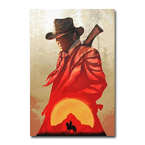 Lienzos De Fotos 60x90cm Sin Marco Red Dead Redemption 2 Juego Silk Wall Art Print Wallpaper Pared decorativa para sala de estar