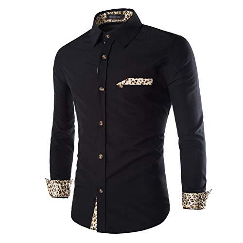 MUMU-001 Lente, herfst, mannen, modieus, blouse, draaien, onder kraag, lange mouwen, overhemd, solide kleuren, luipaard patchwork, casual shirts, blouse voor thuis