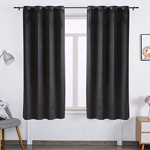 PY HOME & SPORTS Black Velvet Curtains 63 Inch Long Blackout Bedroom Darkening Window Curtain Drapes for Living Room (1 Panel, 52x63 Inch, Black)