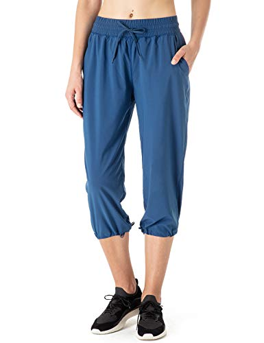 Naviskin Women's Lightweight Quick Dry Active Running Yoga Capri Pant UPF 50+ UV Sun Protection Outdoor Capri Pant Blue Size XL