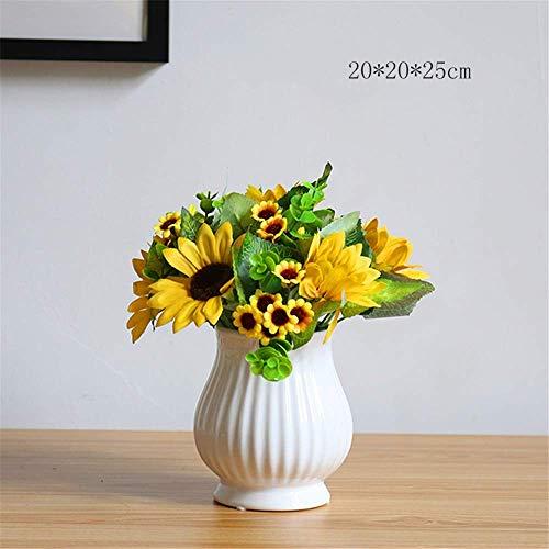 AXAA Piante da Fiore Artificiali - Girasoli Artificiali con Vaso in Ceramica per Decorazioni per Feste in casa da Ufficio, B.