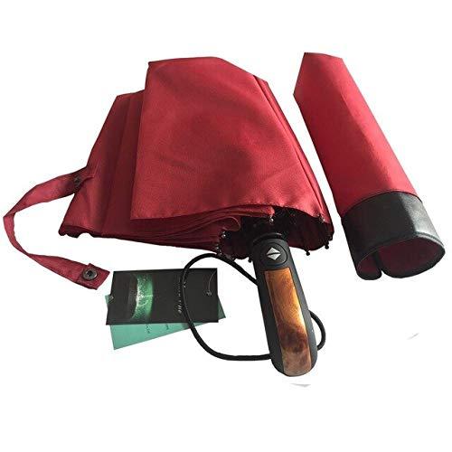ZGMMM Automatische Männlichen Regenschirm Regen Frauen Anti Uv Sonnenschirm Winddicht Chinesischen Männer Faltauto Holzschirme Russische Föderation Rotwein