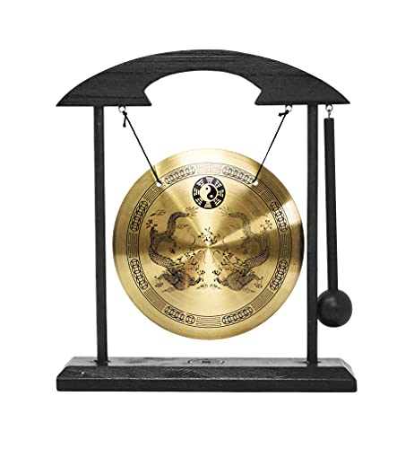 Mandala Crafts Chinese Gong - Mini Gong with Stand - Zen Art Brass Feng Shui Desktop Gong with Stand Asian Gong Bell for Home Decoration Dragon