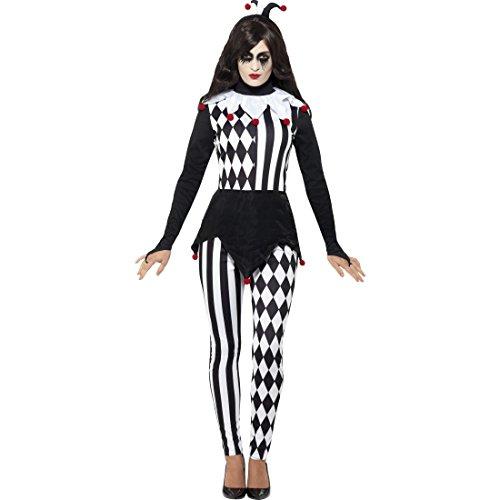 Amakando Pierrot Damenkostüm - S (34/36) - Halloween Narrenkostüm Frauen Clown Karnevalskostüm Karnevalskostüm Hofnarr Bajazzo Faschingskostüm Harlekin Kostüm Damen