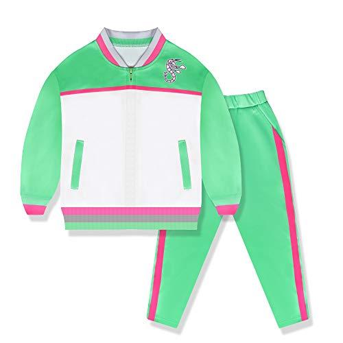 Conjunto de Uniformes de Zombis para niños Vestido de Fiesta de Halloween de la Escuela Secundaria Pantalón Verde Casual de Manga Larga Conjunto Juvenil