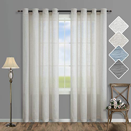 Pitalk Natural Linen Blend Curtains 84 Inch Length for Bedroom 2 Panels Grommet Drapes Neutral Soft Cotton Embroidered Bamboo Textured Light Filtering Semi Sheer Curtains for Living Room Cream Beige