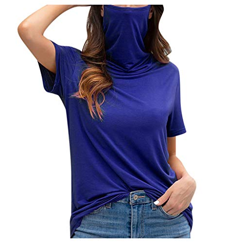 Women's Casual Loose Turtleneck Short Sleeve Soild Tank Tops Tee Shirt Blouse T-Shirt with 𝐅𝐚𝐜𝐞 𝐌𝐚𝐬𝐤 S-5XL
