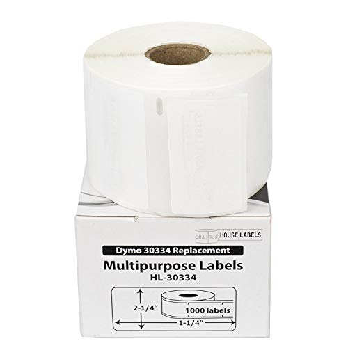 """HOUSELABELS Compatible DYMO 30334 Multipurpose Labels (2-1/4"""" x 1-1/4"""") with Removable Adhesive Compatible with Rollo, DYMO LW Printers, 6 Rolls / 1,000 Labels per Roll"""