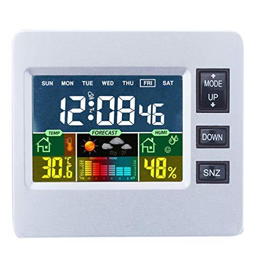 Digitale Wetterstation mit LCD-Farbdisplay für Wettervorhersage mit Innensensor Temperatur Luftfeuchtigkeitsmonitor Wecker Für Schlafzimmer, Zuhause, Büro