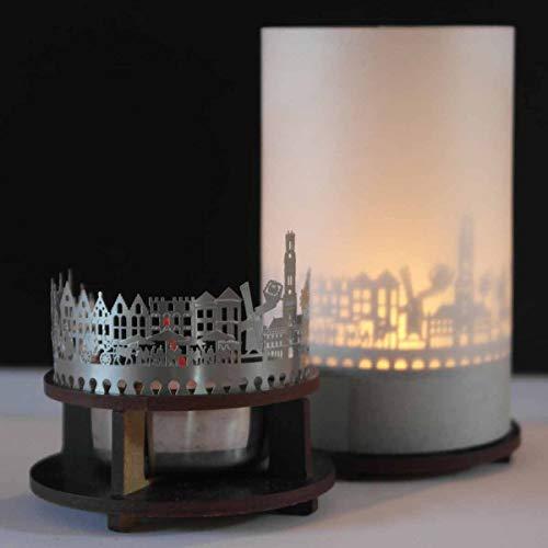 13gramm Brügge-Skyline Windlicht Schattenspiel Premium Geschenk-Box Souvenir, inkl. Kerzenhalter, Kerze, Projektionsschirm und Teelicht