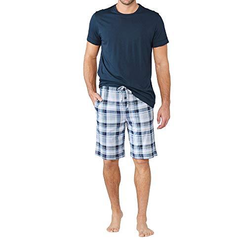 Jockey 500001 477 Herren Shorty aus hochwertiger Single-Jersey Eingrifftaschen, Groesse 56, dunkelblau/kariert