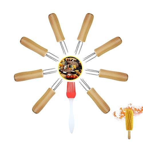 RayE BBQ Grill Maisspieße, 8 Stück Pellkartoffel-Gabel mit 1 Bürste, Maiskolbenhalter Grillspießen Maiskolbenspieße Rostfreie Edelstahl Nadel für Maiskolben und Obst Mais BBQ Grill Wurst