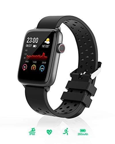 Smartwatch, BlitzWolf IP68 wasserdichte Smartwatch Fitness Tracker Sportuhr Uhr Intelligente Armbanduhr 1,54 Zoll Voller Touchscreen mit Pulsmesser, Schrittzähler, Schlaf-Monitor für iPhone Android