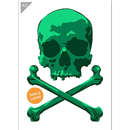 Pirate Skull Stencil - 3 Layers Card or Plastic - A3 16.5 × 11.7 inch – Skull Height 14 inch - Reusable, Kids Friendly Stencil - Painting, Crafts, Cakes, Windows, Wall and Furniture Stencil (Plastic)