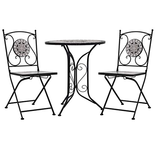 Festnight 3 Piece Mosaic Bistro Set Coffee Table and Chairs Garden Furniture Set patio, or balcony Ceramic Tile Grey