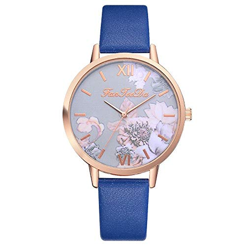 JZDH Relojes para Mujer Retro Rose Flor Dial Design Ladies Relojes Mujeres Moda Vestido Reloj Casual Mujer Cuarzo Reloj De Cuero Relojes Decorativos Casuales para Niñas Damas (Color : Blue)