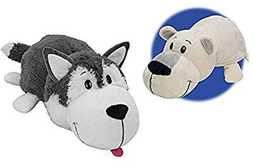 FlipaZoo 16' Husky Dog to Polar Bear Stuffed Animal, Husky/Polar Bear, 16'