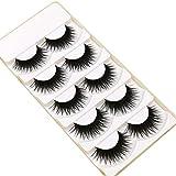 Pestañas postizas CAIXIA Alargue Tallo Negro Cifradas para Maquillaje De Escenario, Maquillaje Ahumado para Discoteca, Extensión Exageradas (Juego De 5 Pares(Color:4 Set s)